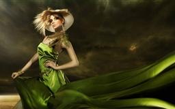 Girl In Green Dress Mac wallpaper