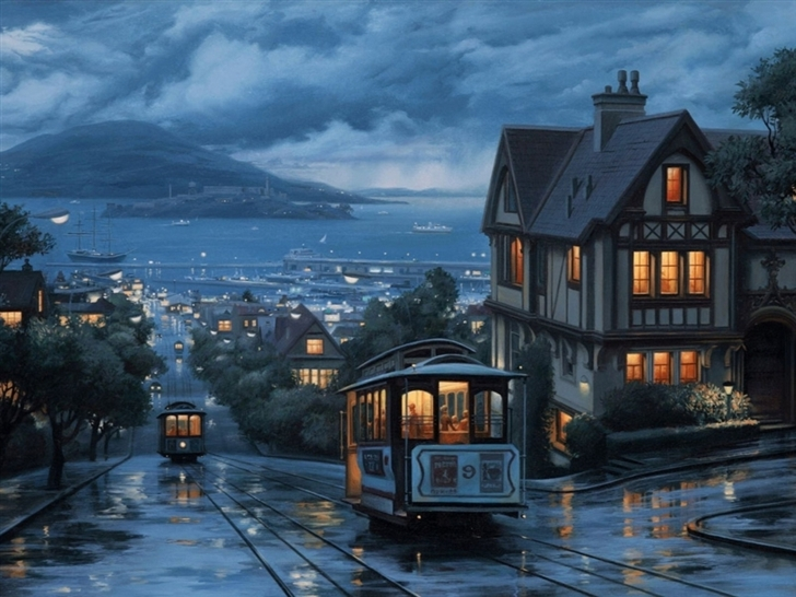 Rain Bus Boat Mac Wallpaper