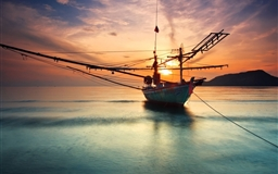 Boat at Sunset Mac wallpaper