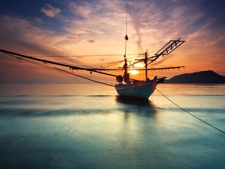 Boat at Sunset Mac Wallpaper