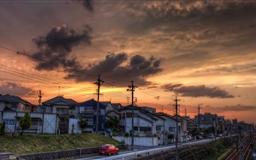 Sunset Okazaki Aichi Prefecture Japan Mac wallpaper