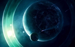 A Planet With Light Rings Mac wallpaper