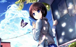 Girl And Butterfly Mac wallpaper