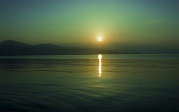 Sun reflection sunset Mac wallpaper