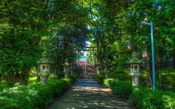 Walking towards the shinto shrine Mac wallpaper