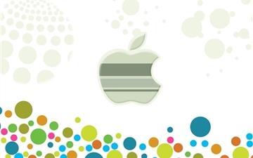 Apple Logo Among Multicolored Circles Mac wallpaper