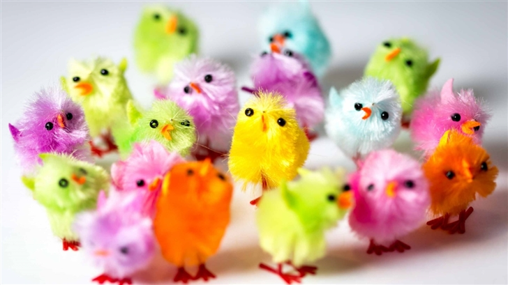 Colorful Easter Chicks Mac Wallpaper