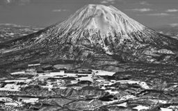 Mount Yotei Black And White Mac wallpaper