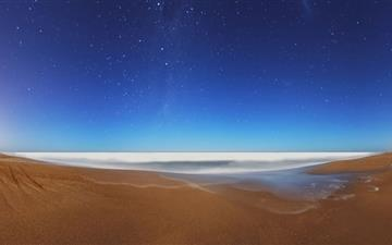 Starry Sky Beach Fisheye Mac wallpaper