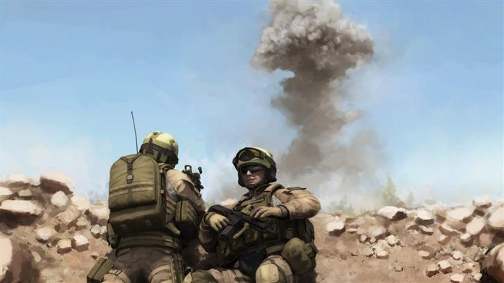 War Soldiers Painting  Mac Wallpaper