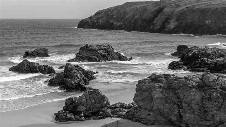 Sea Waves Beach Rocks Scotland Mac Wallpaper