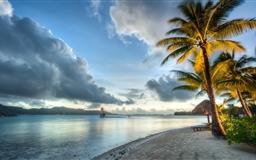 Bora Bora Beach Clouds Mac wallpaper