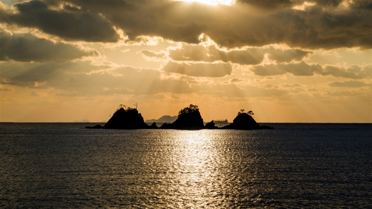 Sunset With Small Islands Mac Wallpaper