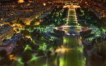 Paris Panorama At Night Tilt Shift Mac wallpaper