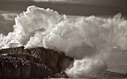 Waves Crashing On Rocks Sepia Mac wallpaper