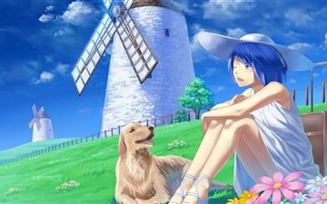 Anime Girl With Her Pet Mac wallpaper