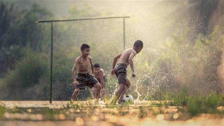 Asian Kids Playing Soccer Mac Wallpaper