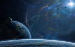 Fantasy Blue Space Mac wallpaper