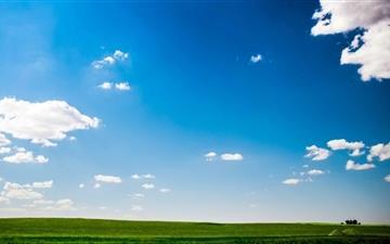 Green Field Nature Blue Sky Mac wallpaper