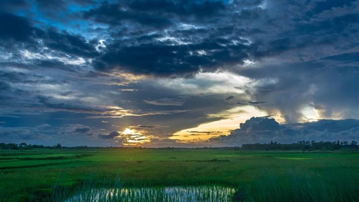 Sunset Dark Clouds Landscape Mac Wallpaper