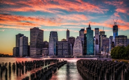 Manhattan Skyline Sunset Mac wallpaper