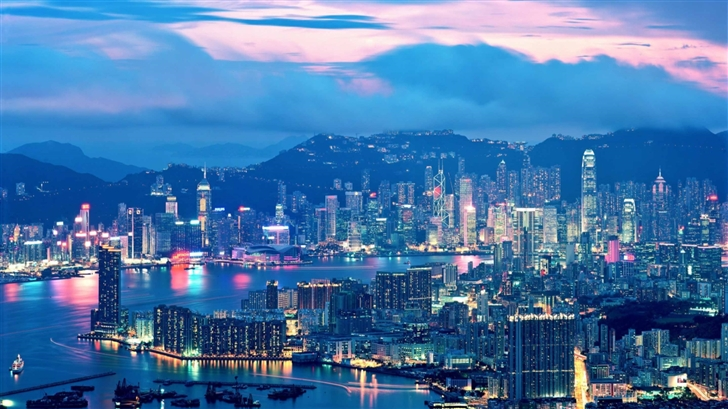 Hong Kong Night Lights Mac Wallpaper