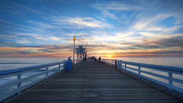 Pier At Sunset Mac Wallpaper