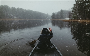 Snowy Paddles in the ADK's Mac wallpaper