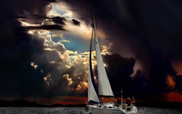 Navigation Sea Dark Clouds Storm
