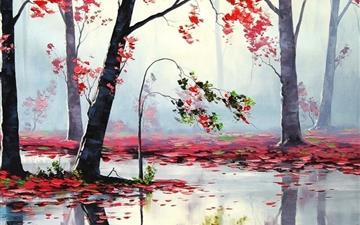 Art Autumn Trees River Mac wallpaper