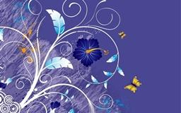 Vector Purple Leaves Flowers Mac wallpaper