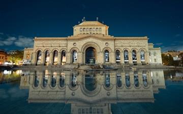 Armenia yerevan building reflection in water Mac wallpaper