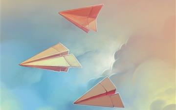 Three paper airplane Mac wallpaper