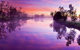 Purple river reflection