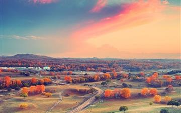 Autumn clouds sunset trees Mac wallpaper