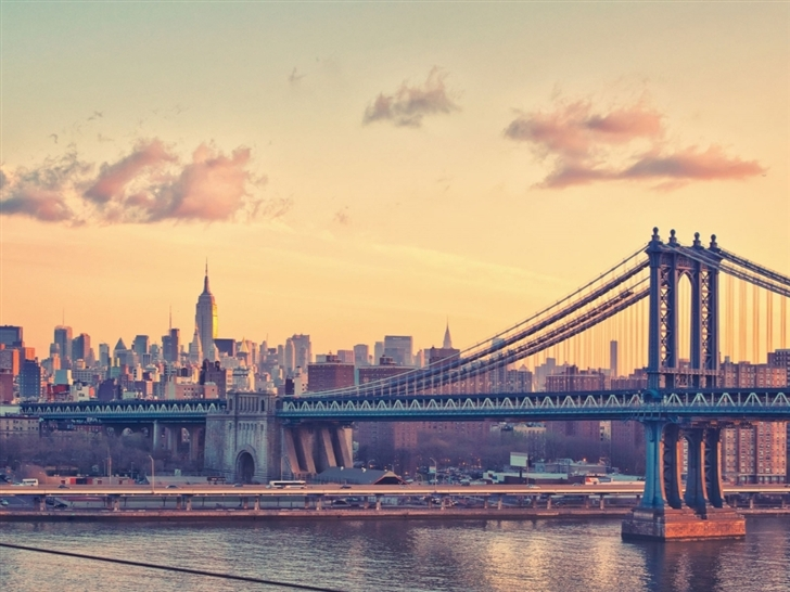 Manhattan Bridge At Dusk New York United States Mac Wallpaper