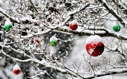 Christmas Ornaments In The Snow