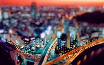 Night city tilt shift Mac wallpaper