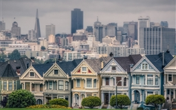 Victorian Houses In Alamo Square San Francisco California USA