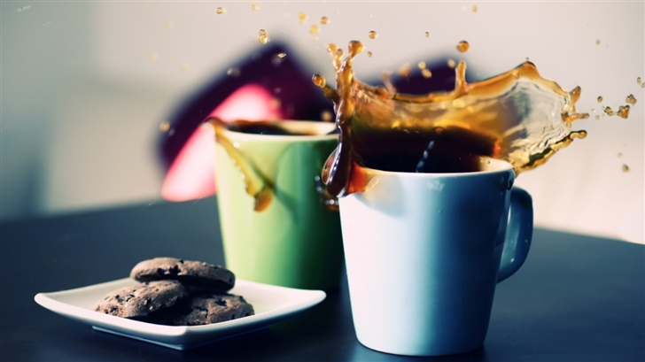 Tea Cups Splash Mac Wallpaper