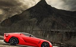 Red sports car Mac wallpaper