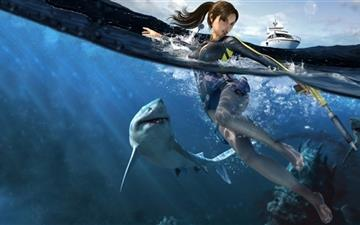 Shark and girl Mac wallpaper