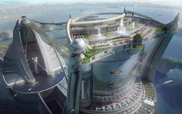 New City at Sea Mac wallpaper