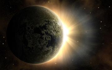 Earth, Sun and Moon Mac wallpaper