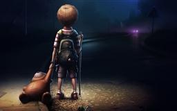 Boy Teddy At Night Mac wallpaper