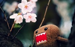 Domo Kun And Tree Blossoms Mac wallpaper