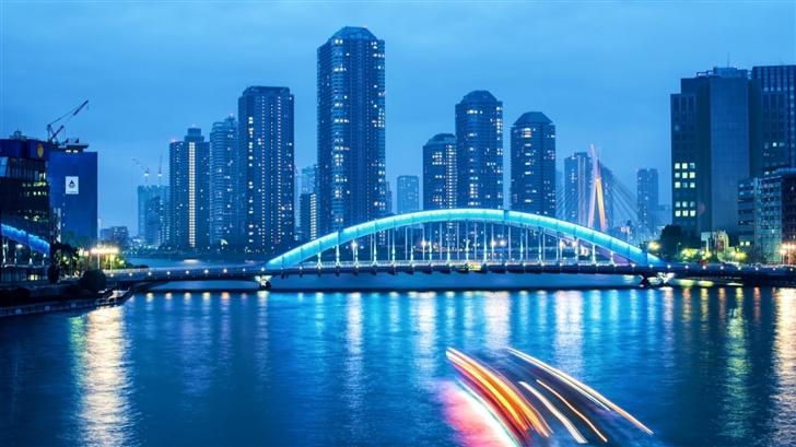 Tokyo Night Bridge Landscape Mac Wallpaper