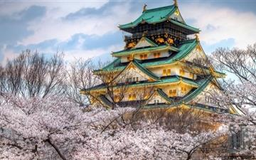 Osaka Castle Spring Mac wallpaper