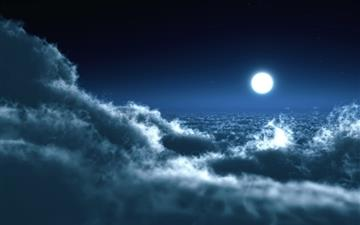 Moon Over Clouds Mac wallpaper