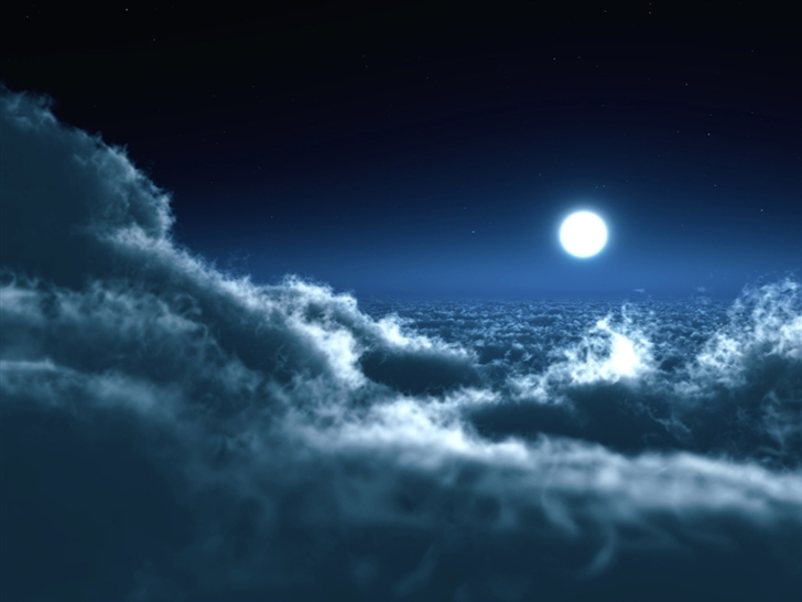 Moon Over Clouds Mac Wallpaper